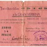 Abono-Invitación a la Gran Verbena de las Fiestas de Pentecostés del año 1947, de Constantino Mota