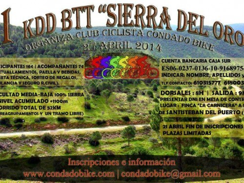 Cartel Segunda Quedada Mountain Bike Sierra del Oro