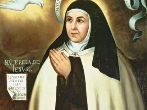 Santa Teresa de Jesús. Retrato auténtico hecho por Fray Juan de la Miseria, en Sevilla, un año después de la fundación de Beas